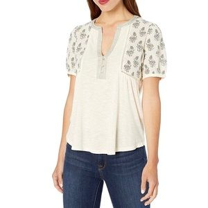 Lucky Brand Puff Sleeves Mix Media Embroidered Top